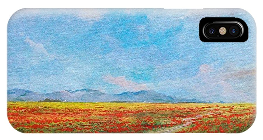Poppy Field IPhone X / XS Case featuring the painting Poppy Field by Sinisa Saratlic