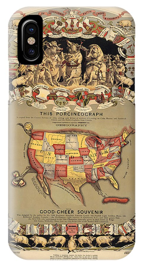 United States IPhone X Case featuring the drawing Pork Map Of The United States From 1876 by Blue Monocle