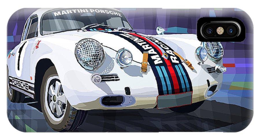 Mix Media IPhone X Case featuring the digital art Porsche 356 Martini Racing by Yuriy Shevchuk
