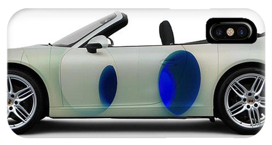 Car IPhone X Case featuring the photograph Porsche 911 Colourscape Sivler-blu by Art Faul