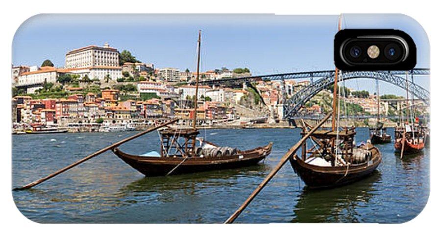 Porto IPhone X / XS Case featuring the photograph Port Wine Boats In Porto City by Jose Elias - Sofia Pereira