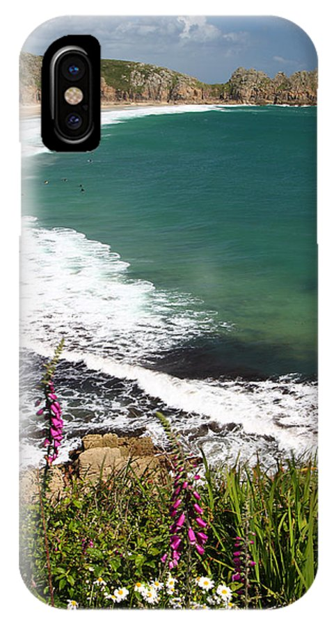 Porthcurno IPhone X Case featuring the photograph Porthcurno Cornwall by Graham Custance