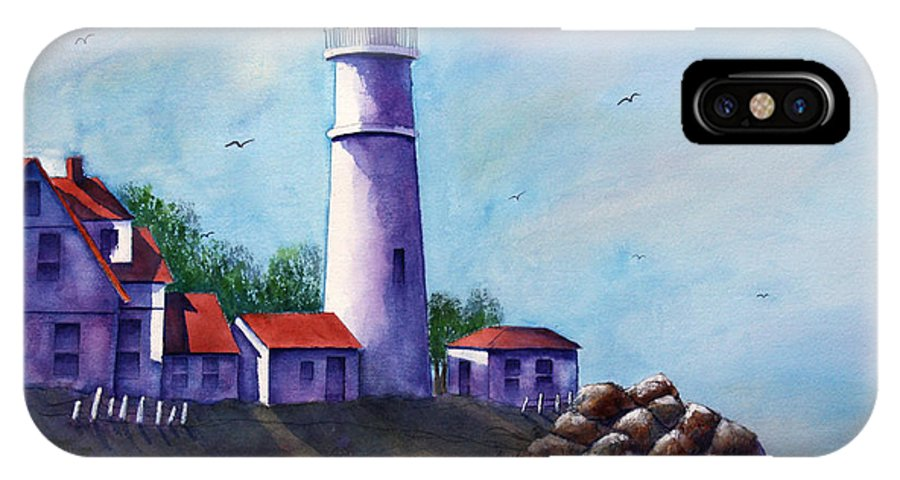 Lighthouse IPhone X Case featuring the painting Portland Head In Shade by Patricia Novack