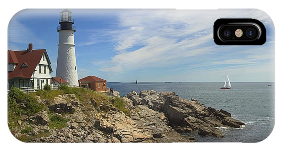 Portland Lighthouse IPhone X Case featuring the photograph Portland Head Lighthouse Panoramic by Mike McGlothlen