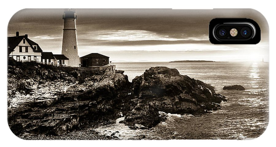 Sunrise IPhone X Case featuring the photograph Portland Head Lighthouse Sunrise by Alana Ranney