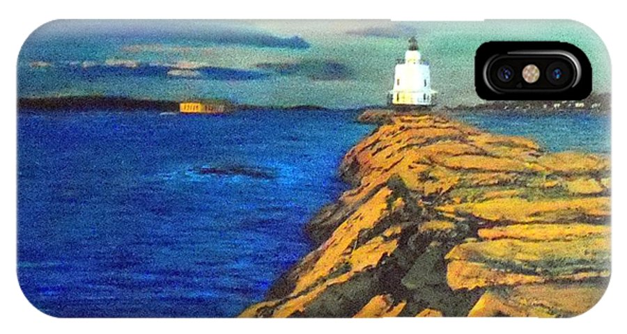 Portland Maine Harbor Lighthouse Ocean Sea Seascape IPhone X Case featuring the painting Portland Maine Harbor by William Tremble