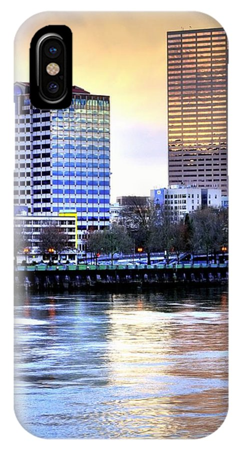 Portland IPhone X Case featuring the photograph Portland Reflections 22929 Hdr by Jerry Sodorff