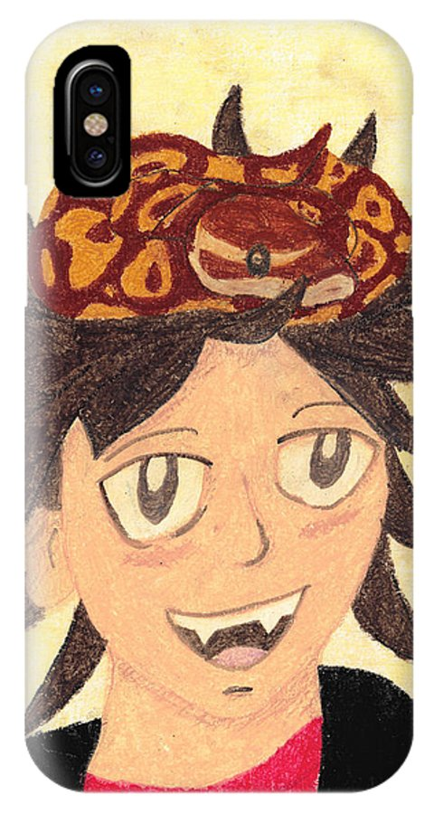 Boy IPhone X / XS Case featuring the pastel Portrait Of A Boy With A Ball Python On His Head by Jessica Foster