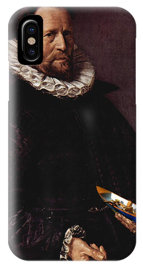 Art Errors IPhone X Case featuring the digital art Portrait Of A Man Holding A Skull 1612 by Frans Hals