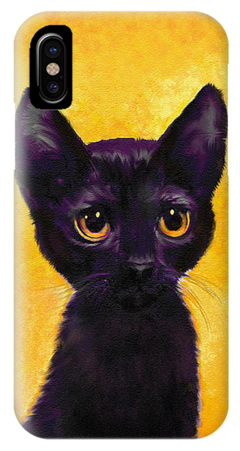 Jane Schnetlage IPhone X Case featuring the digital art portrait of a small black cat named LuLu by Jane Schnetlage