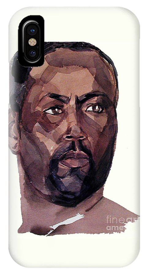 Greta Corens Watercolors IPhone X Case featuring the painting Watercolor Portrait Of An Athlete by Greta Corens
