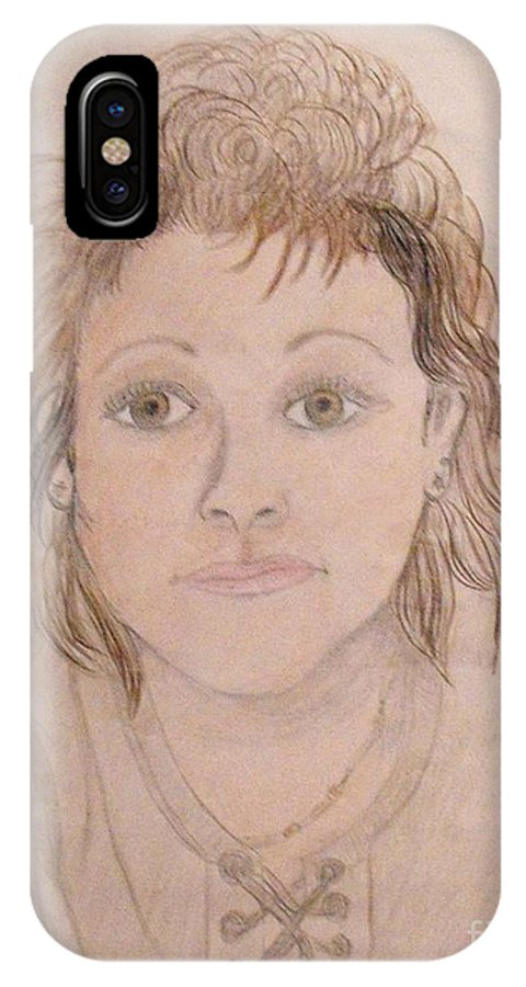 Portrait Of Woman IPhone X Case featuring the drawing Portrait Of Michie by Catherine Ratliff