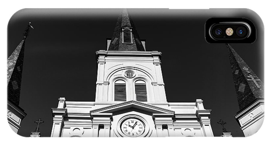 Portrait Of St. Louis Cathedral IPhone X Case featuring the photograph Portrait Of St. Louis Cathedral Mono by John Rizzuto