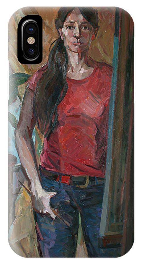 Portrait Of A Girl IPhone X Case featuring the painting Portrait With A Ficus by Juliya Zhukova