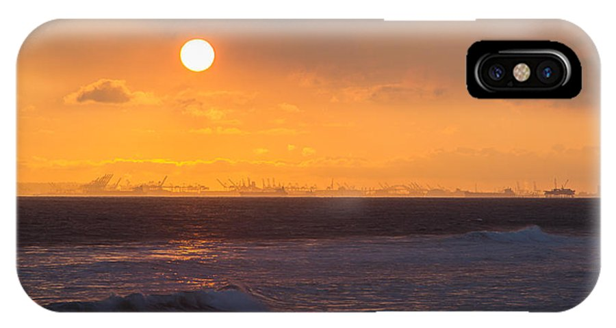 Huntington Beach IPhone X Case featuring the photograph Ports Of Gold by Tuan Le