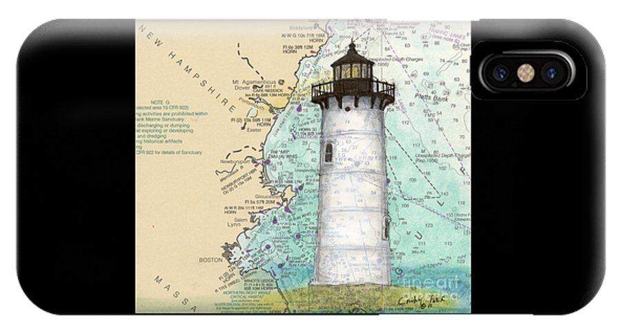 Portsmouth IPhone X Case featuring the painting Portsmouth Harbor Lighthouse Nh Nautical Chart Map Art by Cathy Peek