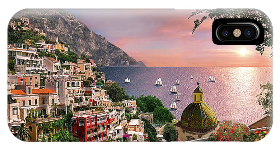 Positano IPhone X Case featuring the digital art Positano by MGL Meiklejohn Graphics Licensing