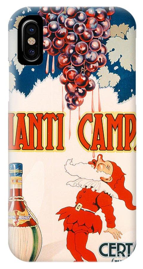 Poster Advertising Chianti Campani IPhone X Case featuring the drawing Poster Advertising Chianti Campani by Necchi