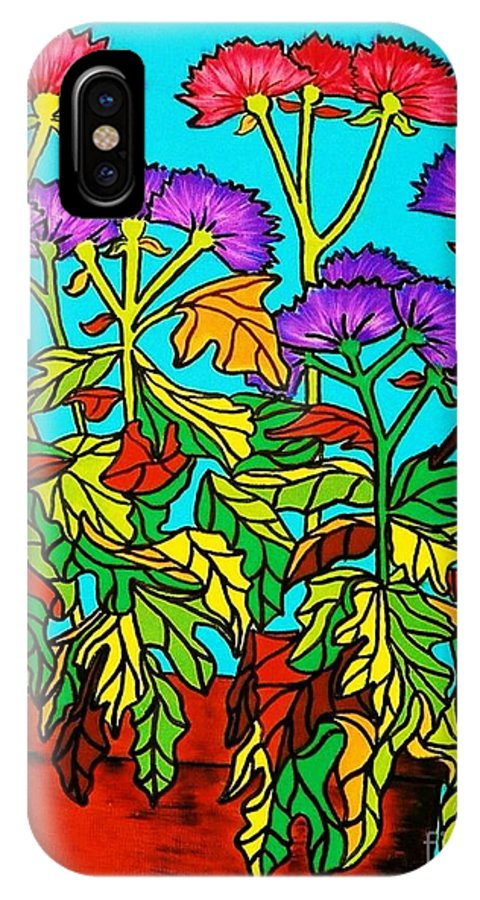 Chrysanthemums IPhone X Case featuring the painting Potted Mums Framed by Joan-Violet Stretch