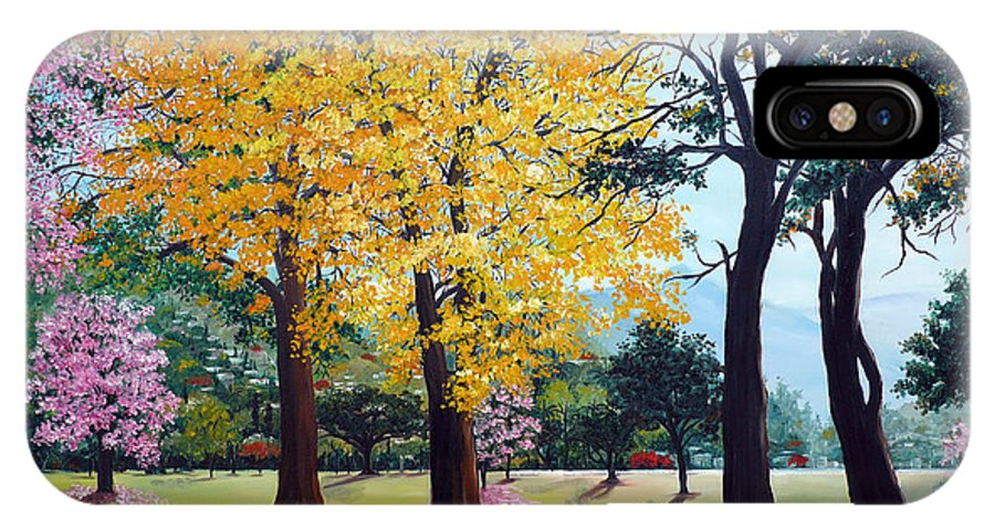 Tree Painting Landscape Painting Caribbean Painting Poui Tree Yellow Blossoms Trinidad Queens Park Savannah Port Of Spain Trinidad And Tobago Painting Savannah Tropical Painting IPhone X Case featuring the painting Poui Trees In The Savannah by Karin Dawn Kelshall- Best