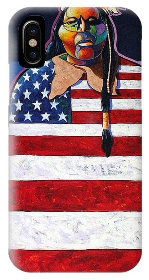 Native American Wrapped In Us Flag IPhone Case featuring the painting Poverty Still Cracks The Whip by Joe Triano