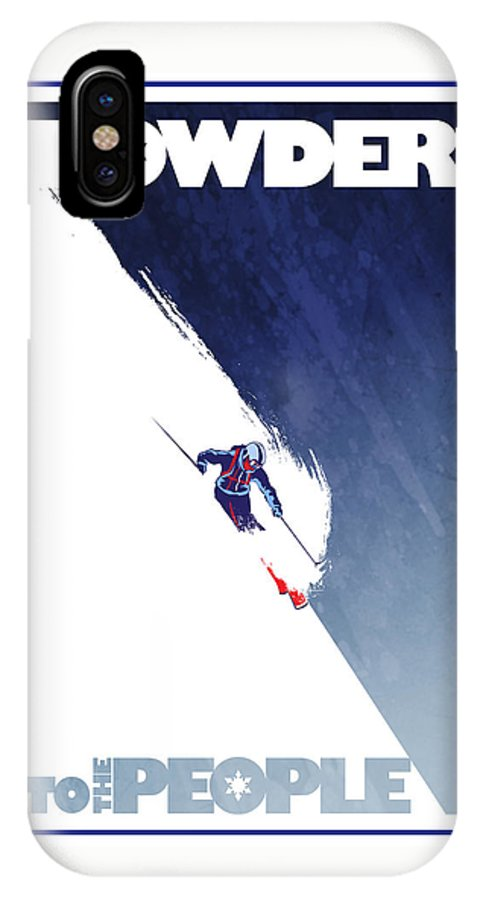 Ski IPhone X Case featuring the painting Powder To The People by Sassan Filsoof