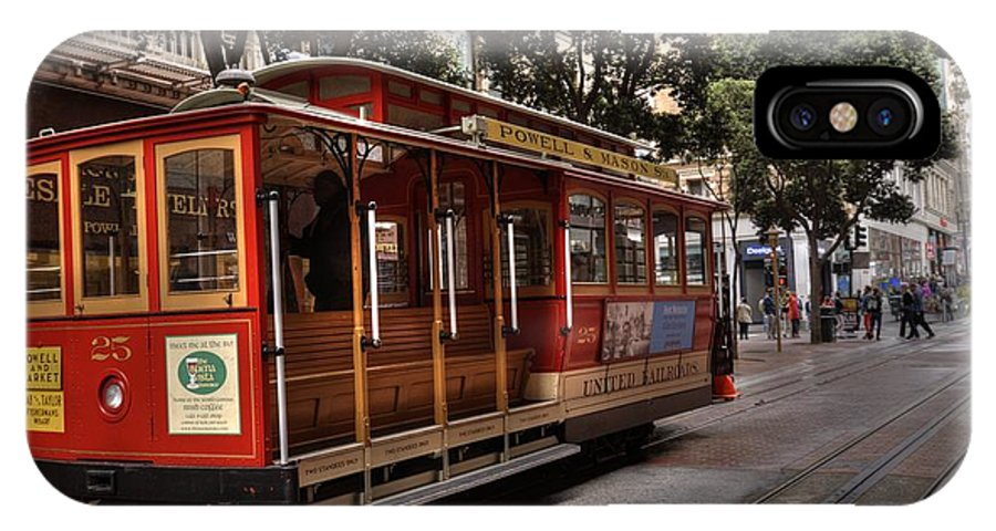 Cable Car IPhone X Case featuring the photograph Powell And Market Cable Car by David Bearden