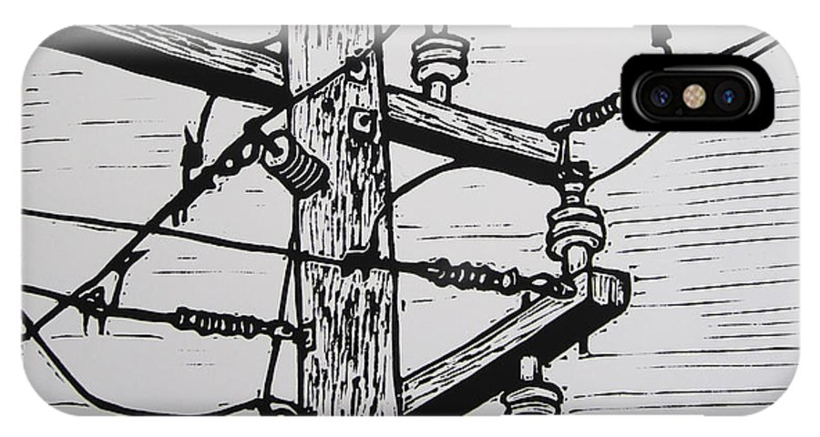 Power IPhone X Case featuring the drawing Power Lines by William Cauthern
