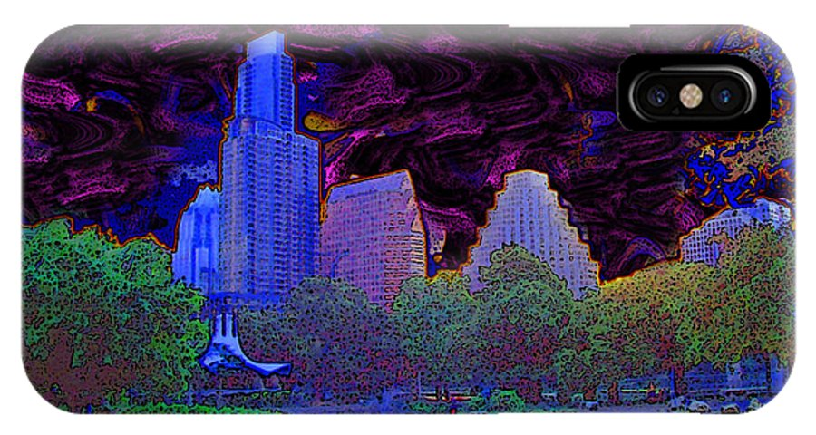 Power Night Blue Dark Austin Texas Auditorium Shores IPhone X Case featuring the digital art Power Of The Night by Phillip Mossbarger