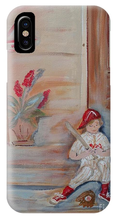 Baseball IPhone X Case featuring the painting Practice Makes Perfect by Bobbi Groves