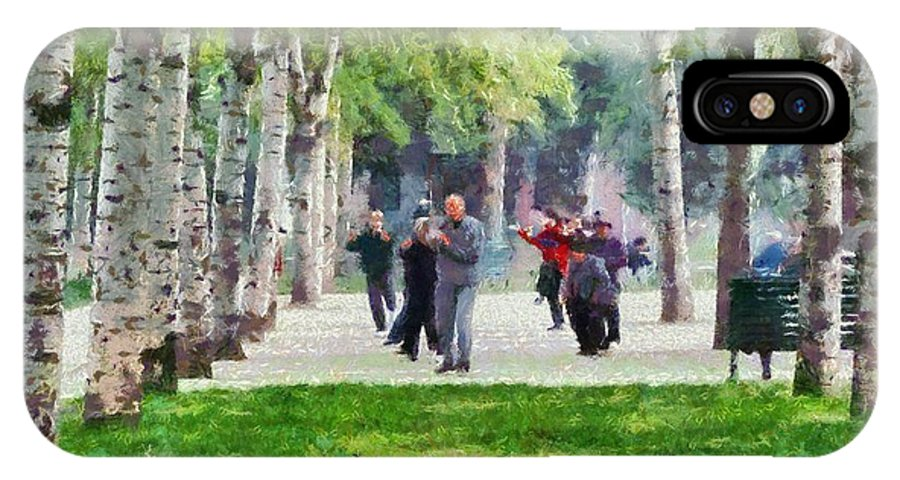 Paint; Painting; Paintings; Beijing; China; Asia; City; People; Temple Of Heaven; Park; Trees; Tiantan; Martial; Arts; Practice; Practicing; Train; Training; Morning; Capital; Chinese; East; Eastern; Holidays; Vacation; Travel; Trip; Voyage; Journey; Tourism; Touristic IPhone X Case featuring the painting Practicing Martial Arts by George Atsametakis