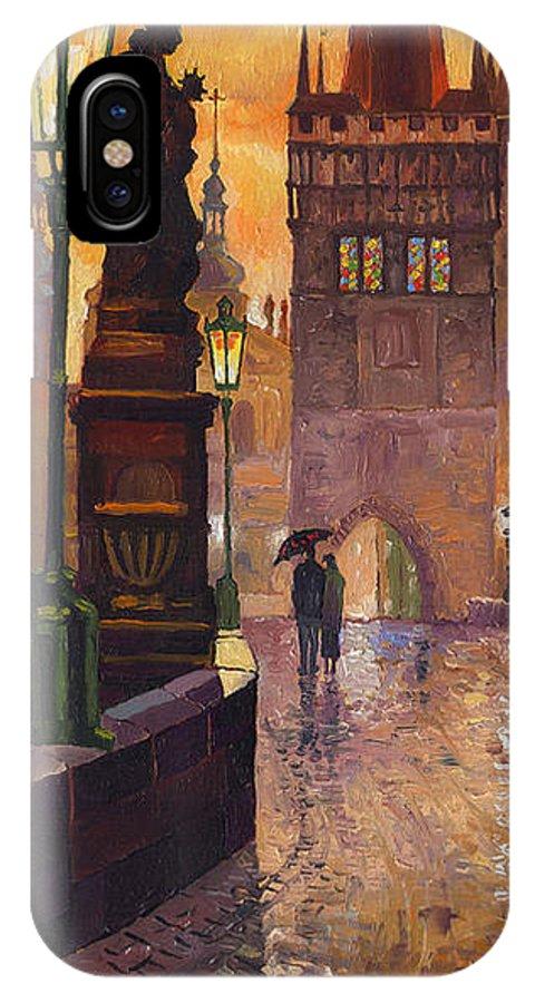 Prague IPhone Case featuring the painting Prague Charles Bridge 01 by Yuriy Shevchuk