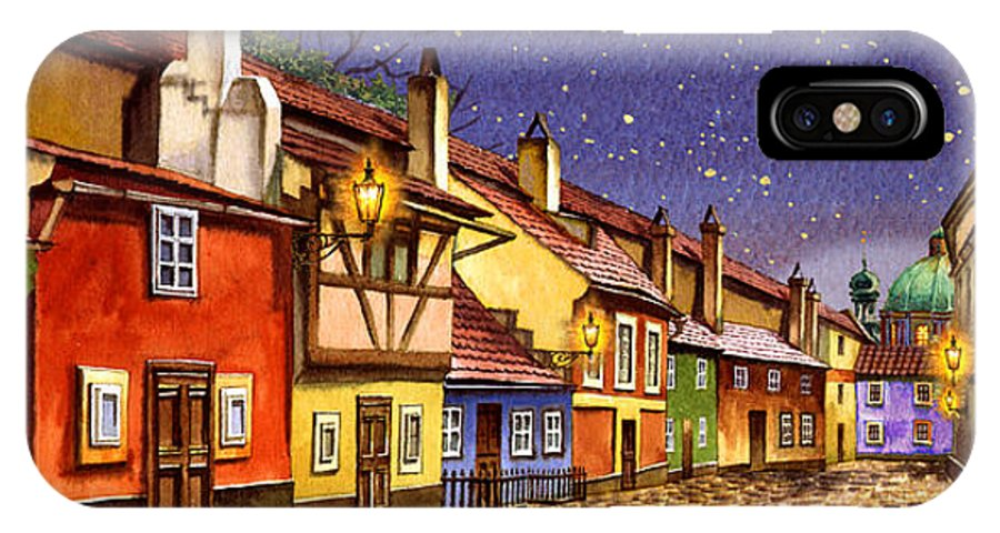 Prague IPhone X Case featuring the painting Prague Golden Line Street by Dmitry Koptevskiy
