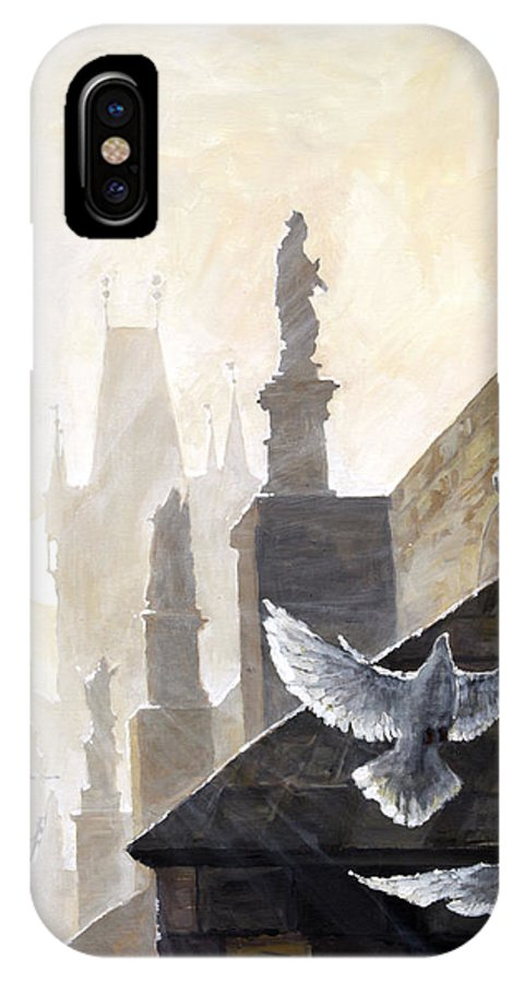Oil On Canvas IPhone X Case featuring the painting Prague Morning On The Charles Bridge by Yuriy Shevchuk