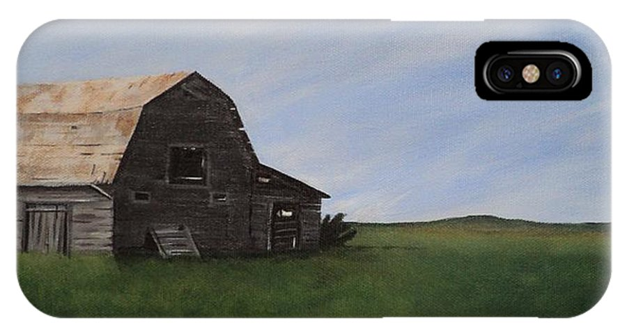 Prairie IPhone Case featuring the painting Prairie Barn by Jesslyn Fraser