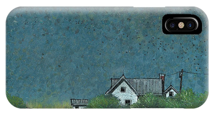 Prairie IPhone X Case featuring the painting Prairie Homestead by John Wyckoff