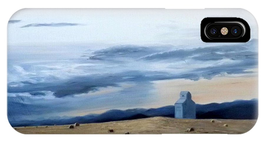 Landscape IPhone X Case featuring the painting Prairie Storm Is Brewing by Bertha Frankoski