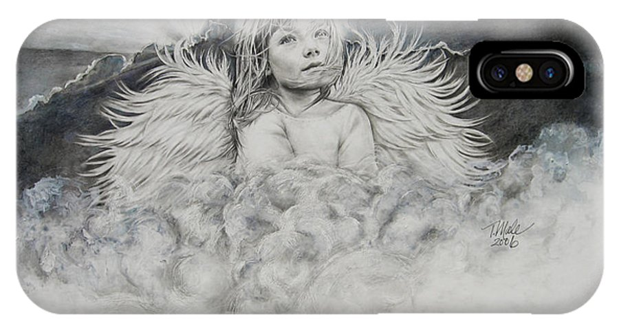 Angel Drawing IPhone X Case featuring the drawing Prayers To An Angel by Tracy Male