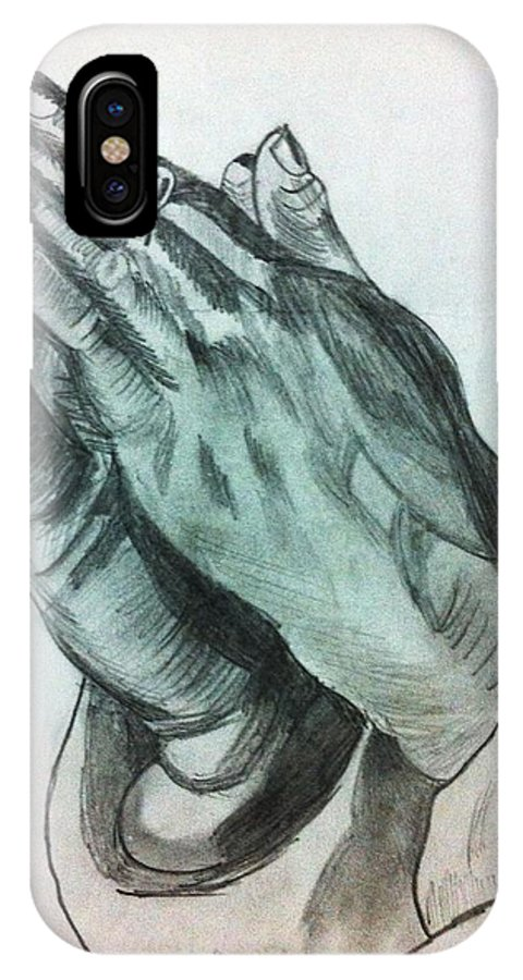 Pencil Sketch IPhone X Case featuring the drawing Praying Hands by Divya Engarsal