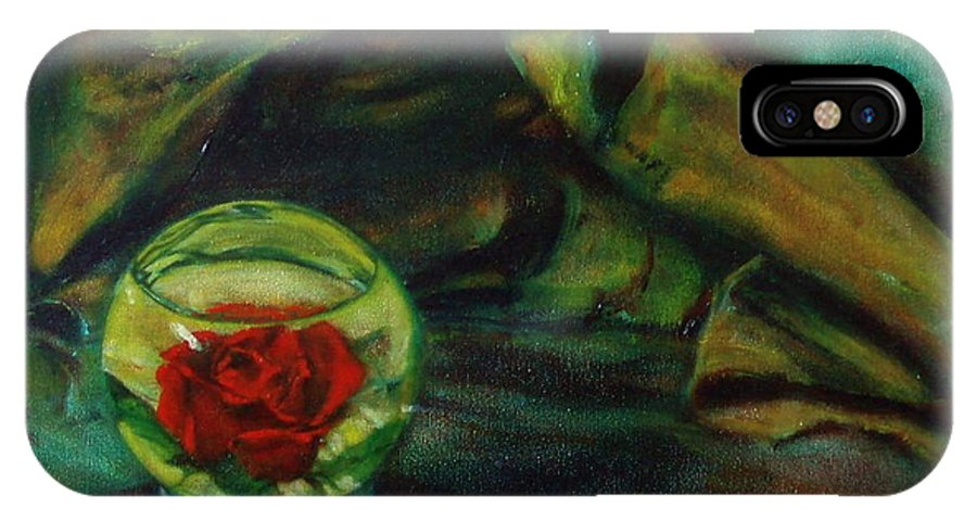 Still Life IPhone X Case featuring the painting Preserved Rose . . Draped Canvas by Sean Connolly