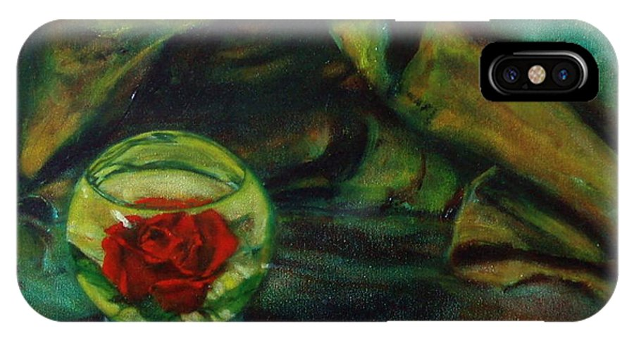 Still Life IPhone X / XS Case featuring the painting Preserved Rose . . Draped Canvas by Sean Connolly