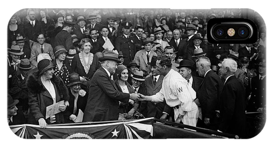 Opening Day IPhone X Case featuring the photograph President Herbert Hoover And Baseball Great Walter Johnson 1931 by Mountain Dreams