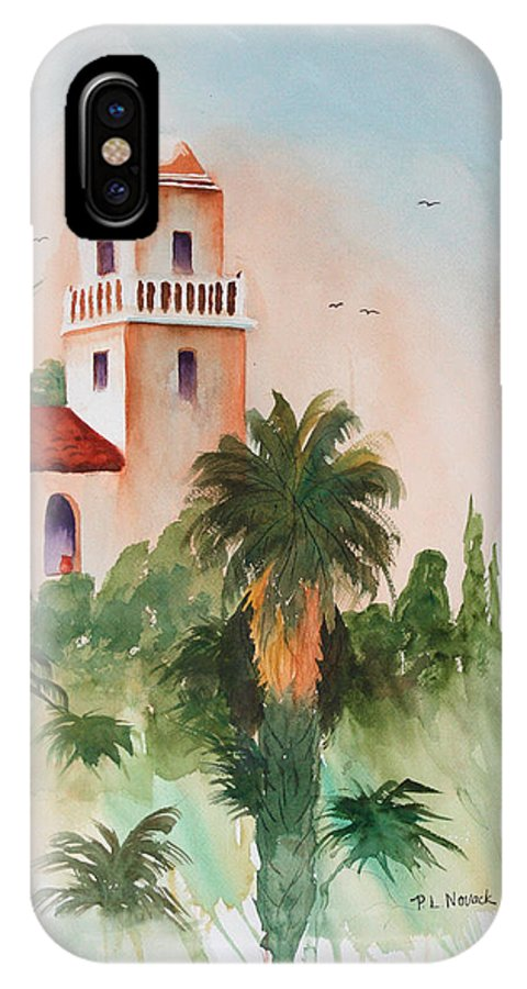 Mission IPhone X Case featuring the painting Presidio Park San Diego by Patricia Novack