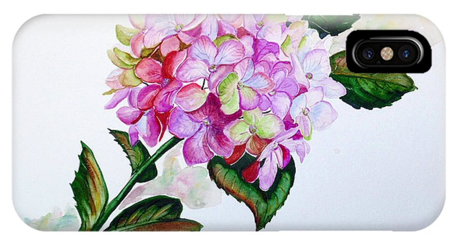 Hydrangea Painting Floral Painting Flower Pink Hydrangea Painting Botanical Painting Flower Painting Botanical Painting Greeting Card Painting Painting IPhone X / XS Case featuring the painting Pretty In Pink by Karin Dawn Kelshall- Best