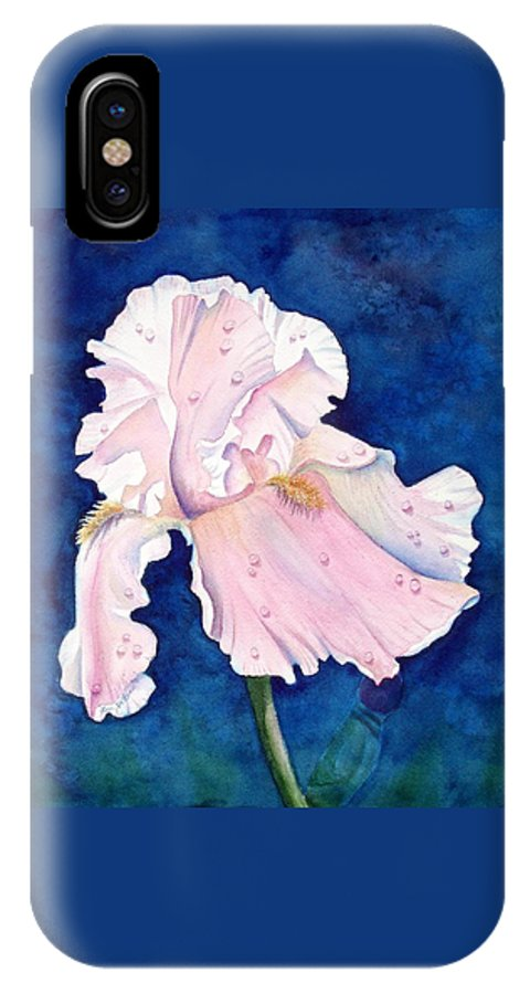 Iris IPhone X Case featuring the painting Pretty In Pink by Lyn DeLano
