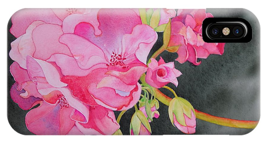 Geranium IPhone X Case featuring the painting Pretty In Pink by Mary Ellen Mueller Legault