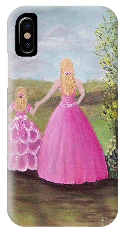 Girls IPhone X Case featuring the painting Pretty In Pink by Rhonda Lee