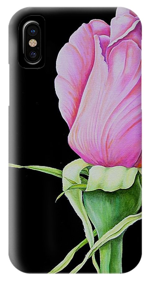 Flowers IPhone X Case featuring the painting Pretty In Pink Rose Bud by Carol Sabo