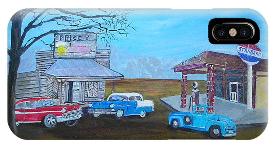 Antique IPhone X Case featuring the painting Price's Bar B Que And Grille by Linda Bright Toth