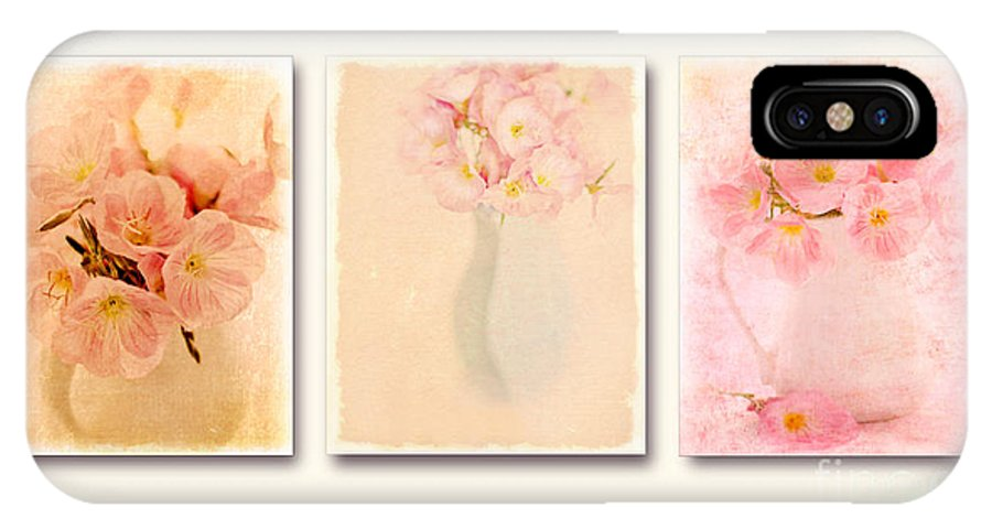 Vase Of Primroses IPhone X Case featuring the photograph Primrose Triptych by Linde Townsend